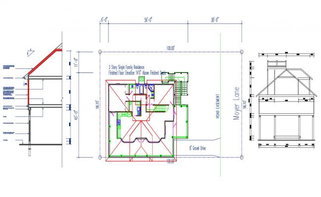 Residential Bungalow Plan and Wall Section Design