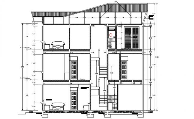 Residential Bungalow Section AutoCAD Drawing