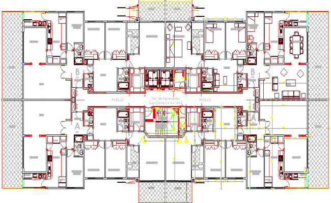 Residential Flats Architecture Layout and Structure Details dwg file