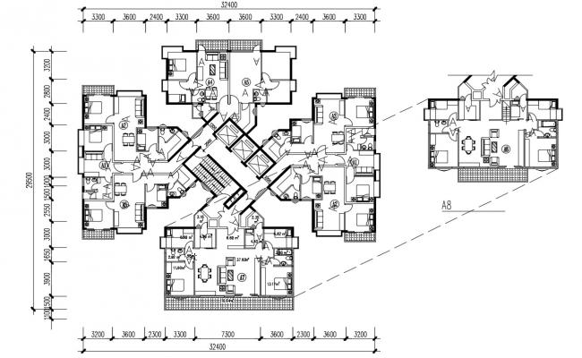 Residential Furnished Apartment Architecture Drawing Plan