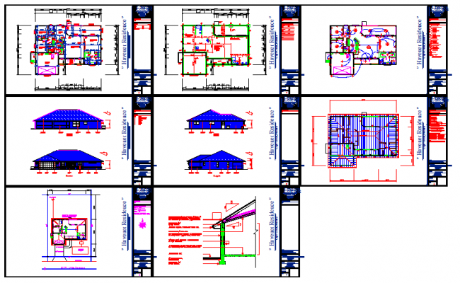 Residential House All Detail in DWG File