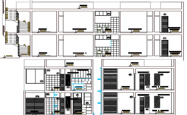 Residential House Architecture Elevation and Section Plan dwg file