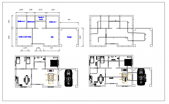Residential House Design dwg file