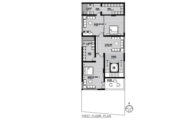 Residential House First Floor Plan AutoCAD Drawing