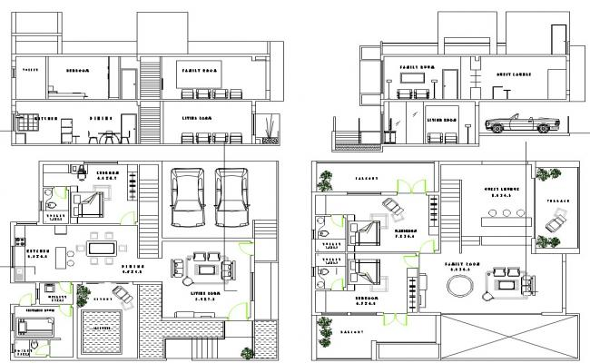 Residential Layout plan and elevation design dwg file
