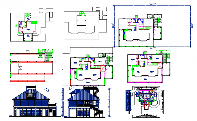 Residential Modern Bungalows Detail in Cad File.