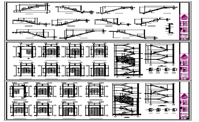 Residential Stair case structure layout and diagram design drawing