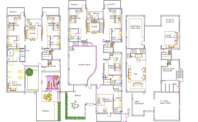 Residential Villa Furniture Layout Plan AutoCAD Drawing