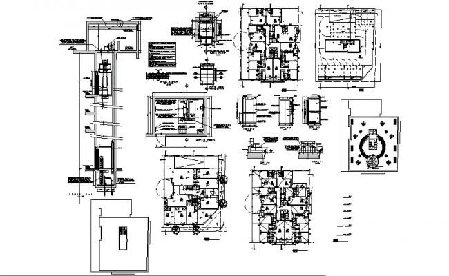 Residential and commercial building with detail dimension in autocad