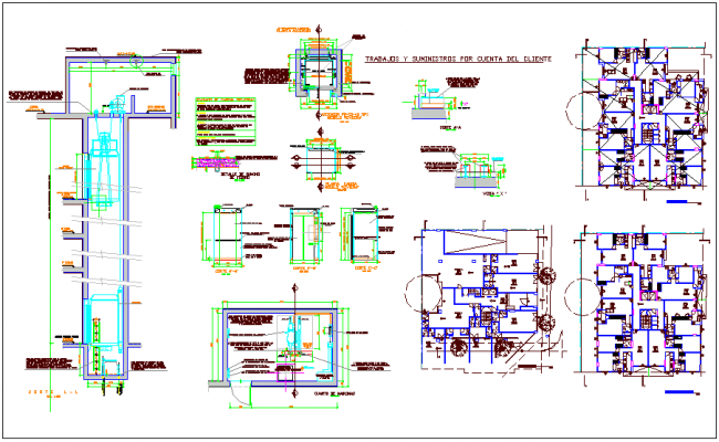 Residential and commercial space 4 story plan and section view with detail dwg file
