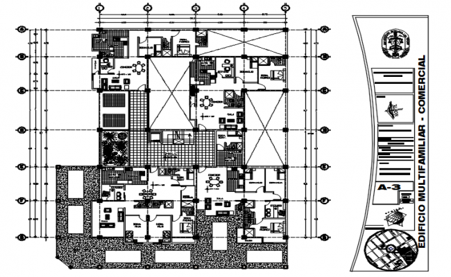 Residential apartment 26.3mtr 37mtr with furniture detail in dwg file
