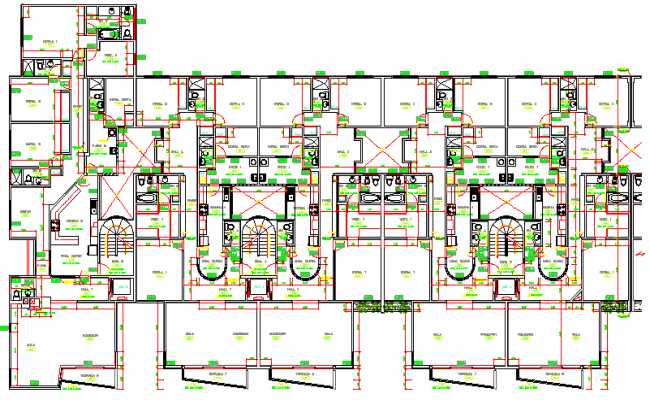 Residential apartment building house architecture layout plan dwg file