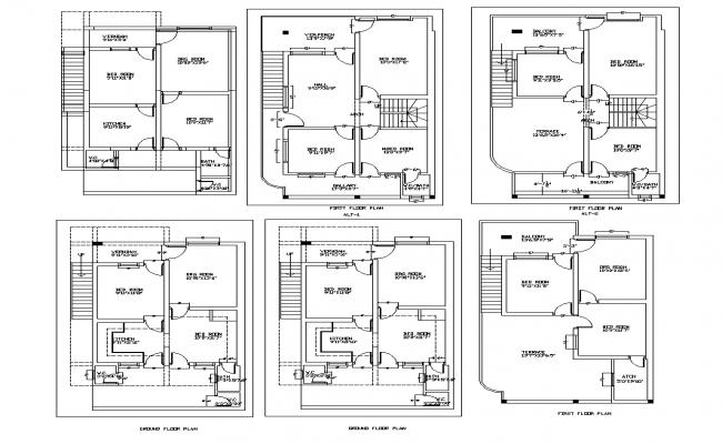 Residential apartment detail plan layout dwg file