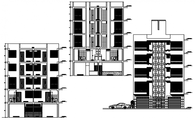Residential apartment elevations in dwg file
