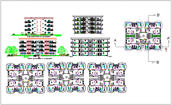 Residential apartment plan layout and elevation detail plan dwg file