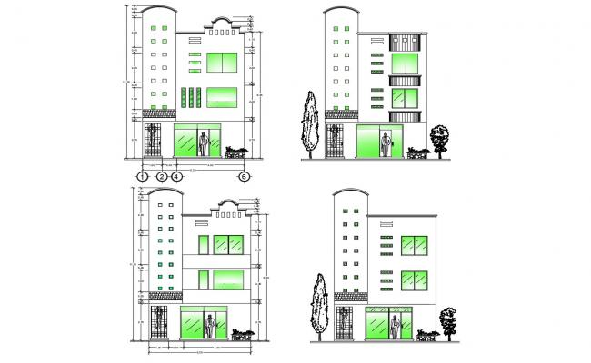 Residential apartment with detail dimension in dwg file