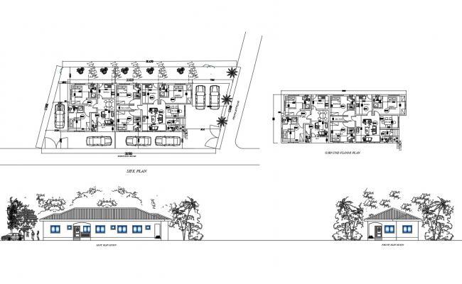 Bungalow Elevation Plan In DWG File