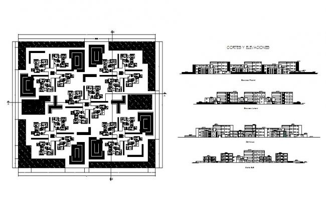 Residential apartment with section and elevation in dwg file