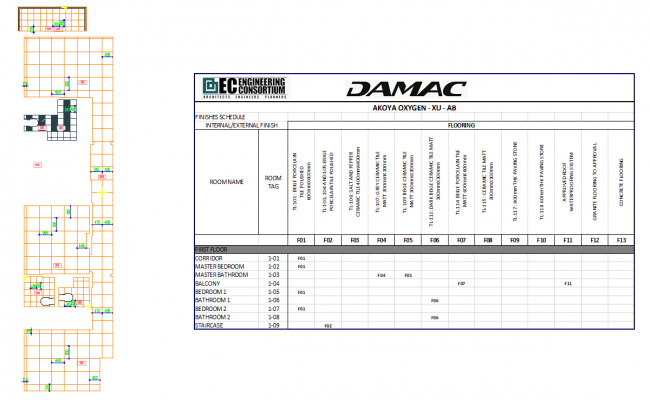 Residential building area data balance sheet detail view dwg file