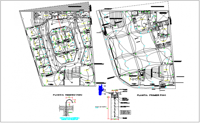 Residential building electrical plan layout detail dwg file for Residential building plans dwg