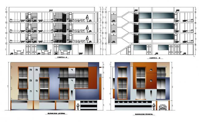 Residential Building Elevation In DWG File