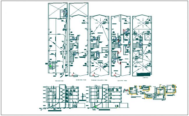 Residential building floor plan & sanitary item view in detail dwg file