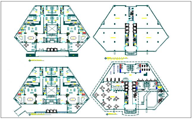 Residential building floor plan detail view dwg file