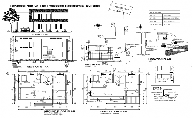 Residential building housing structure detail elevation, section and