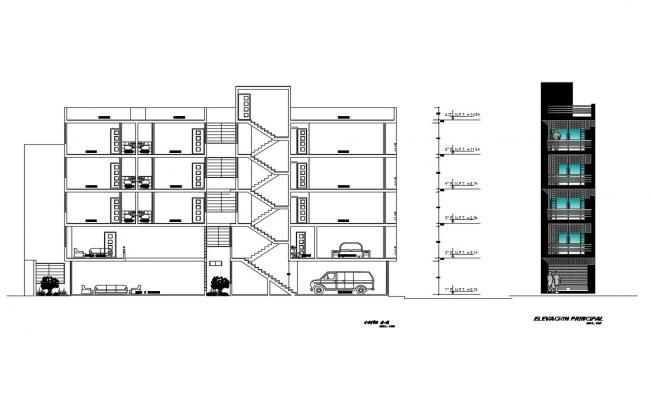 residential building main elevation and section cad drawing details dwg file