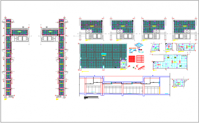 Plan Elevation Section Kitchen : Residential building plan elevation section detail view