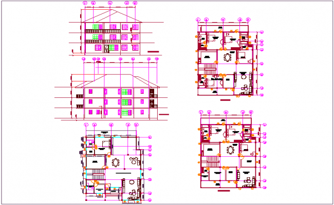 Residential building plan and elevation view of first and second floor dwg file