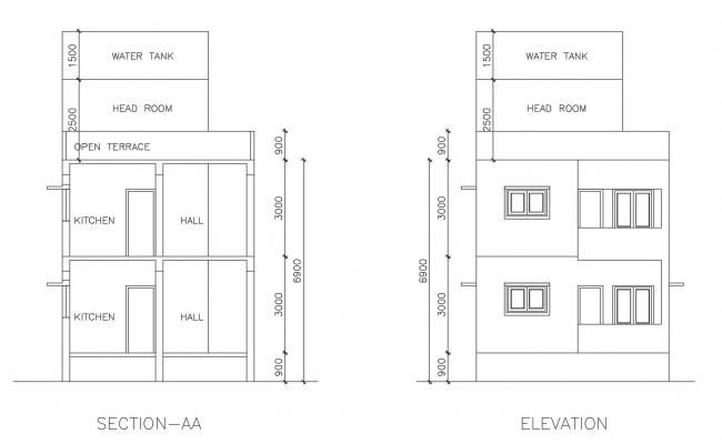 Residential building section in autocad