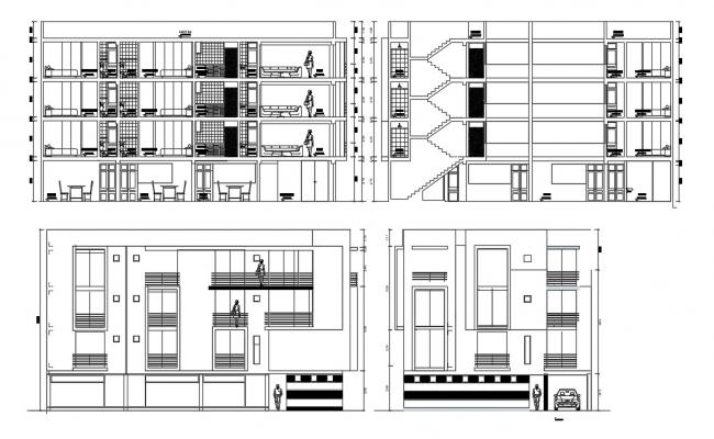 Residential building with elevation details in dwg file