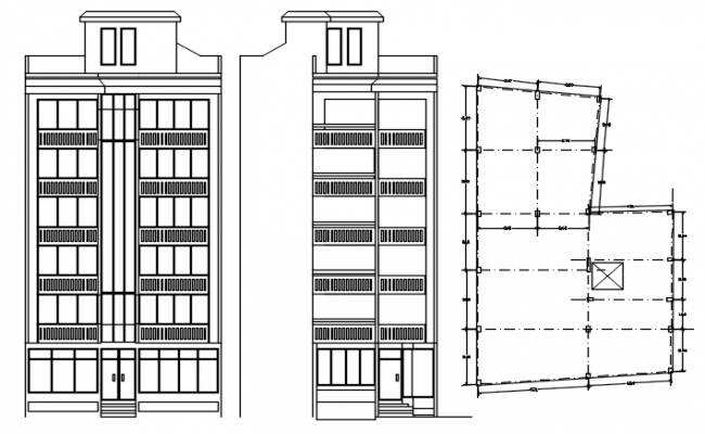 Residential building with elevation in autocad