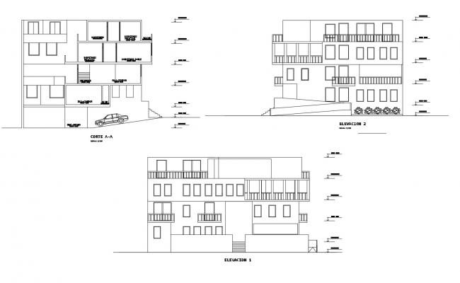 Residential building with elevation in dwg file