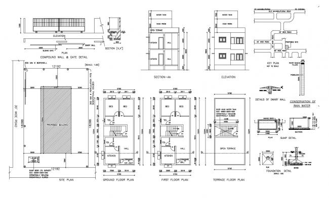 Residential building with the foundation in AutoCAD