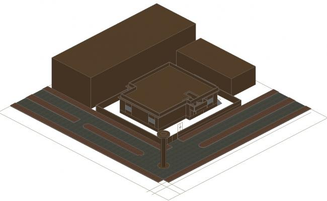 Residential bungalow 3d model CAD Drawing