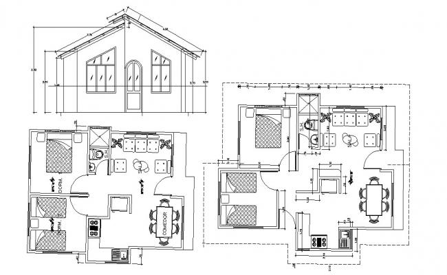 Residential bungalow in dwg file