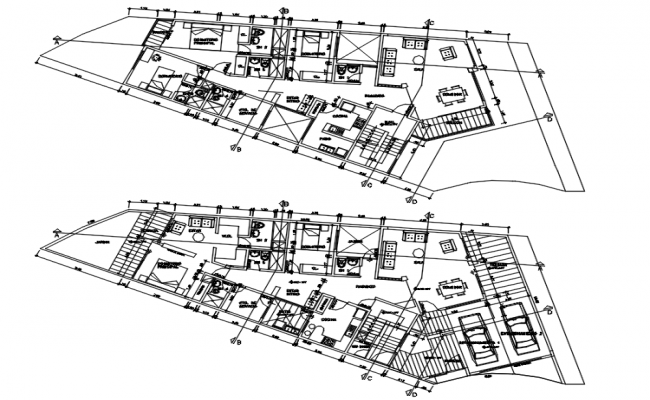 Residential bungalow layout in dwg file