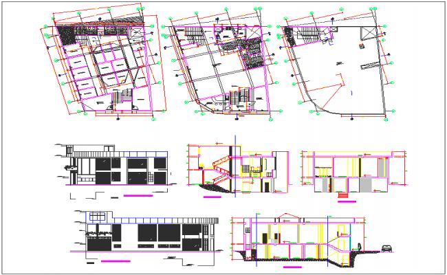 Residential bungalow plan view detail dwg file