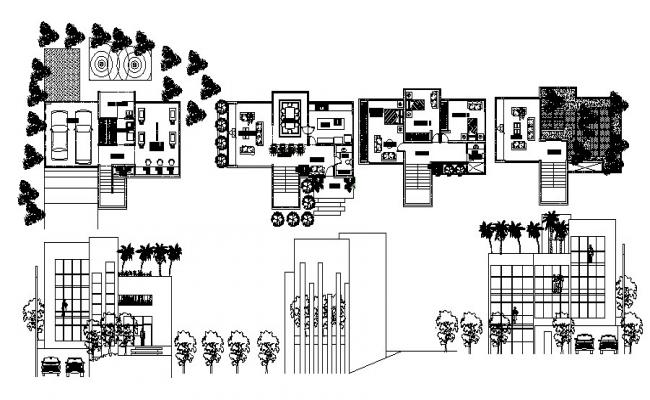 Residential bungalow with elevations in dwg file