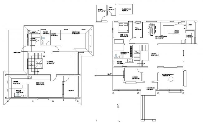 Residential bunglow layout in autocad