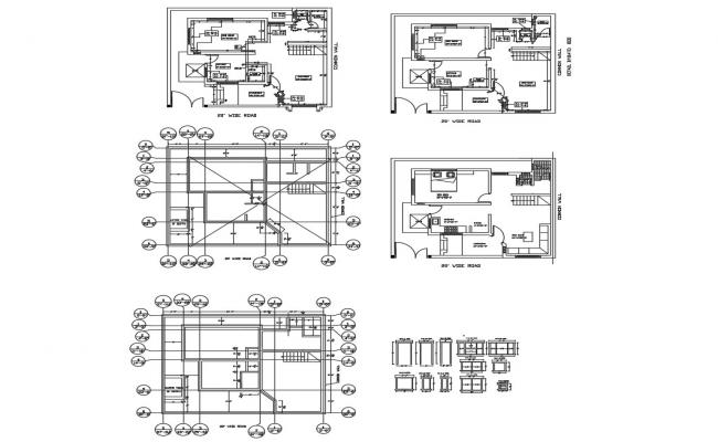 Residential drawing of bungalow in dwg file