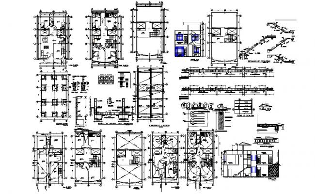Residential drawing with elevations in autocad