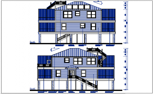 Residential elevation plan view detail dwg file