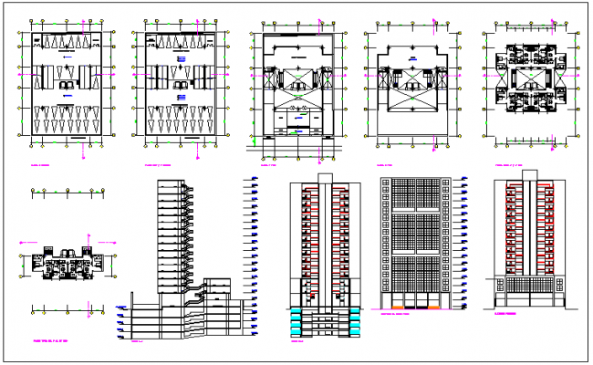 Residential high rise building plan detail view dwg file