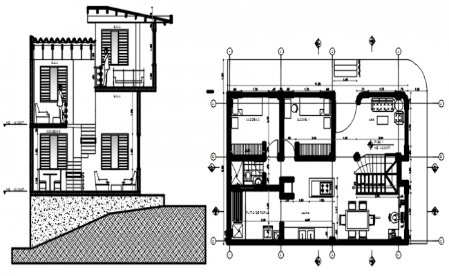 Residential house 11.20mtr x 6.80mtr with detail dimension in dwg file