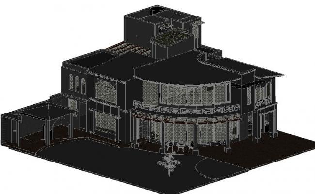 Residential house 3 D plan detail dwg file