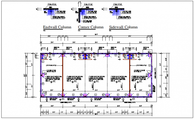 Residential house building plan and foundation detail layout view detail dwg file