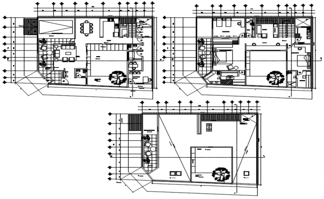 Residential house design 17.43mtr x 13.15mtr with detail dimension in dwg file
